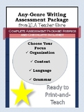 ANY GENRE. COMPLETE WRITING ASSESSMENT PACK. RUBRIC AND CH