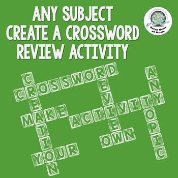 Create Your Own ANY SUBJECT Crossword Puzzle Review Activi