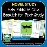 ANY TEXT Full Editable Booklet - For any Novel or Short Text Study - Easy As!