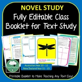ANY TEXT Full Editable Booklet - For any Secondary Novel or Short Text Study