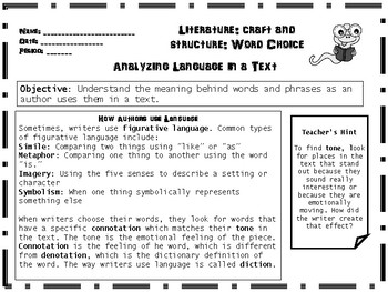 ANY TEXT RL.4  Literature Reading Standards: Author's Use of Language