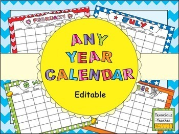 ANY YEAR Editable Calendar