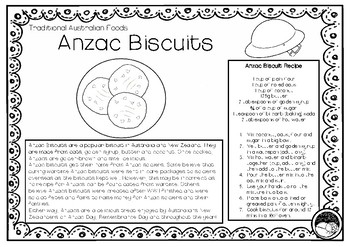 ANZAC BISCUITS (Australian food) 1 pg information & colori
