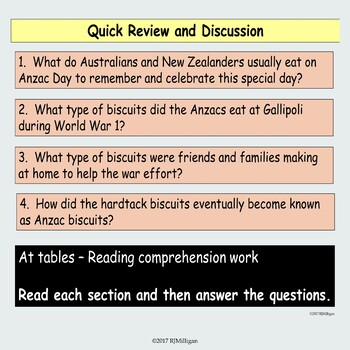 ANZAC Biscuits and Hardtack, Presentation and Reading Comprehension