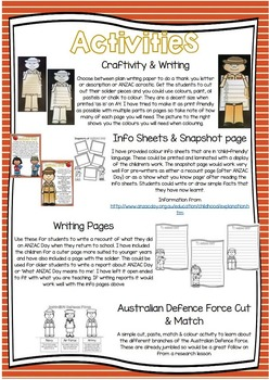 ANZAC DAY Pack - Craft, Writing & Informational Activities