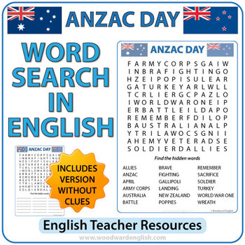 ANZAC DAY Word Search in English