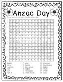 ANZAC DAY word search sleuth 18 KEYWORDS + ACRONYM sheet