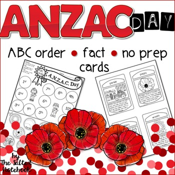 ANZAC Day ABC order Fact Cards No prep