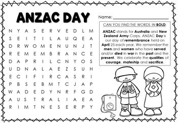 ANZAC Day Foundation / Grade 1 Activities