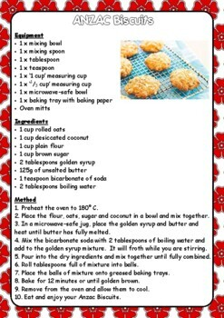 ANZAC Day Procedure Activities -ACARA and CCSS aligned