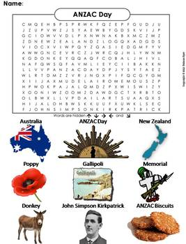ANZAC Day Word Search