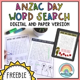 ANZAC Day Wordsearch - Free Download (Distance Learning)