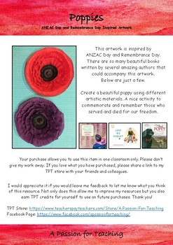 ANZAC Day and Remembrance Day Poppies Inspired Artwork