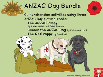 ANZAC Day bundle - HOT reading comprehension activities for 3 picture books