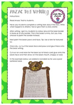 ANZAC Ted Writing and craft