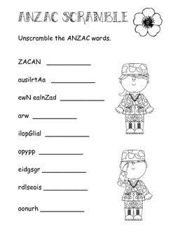 ANZAC Word Scramble