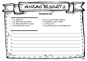 ANZAC biscuit cooking procedure text