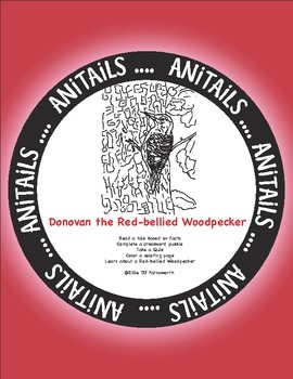 ANiTAiLS: Donovan the Red-Bellied Woodpecker Story, Crossword, Coloring page