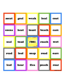 "Vowel Teams ""ao"" and ""eo"" Bingo Game"