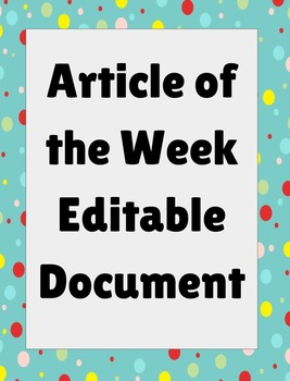 AOW Article of the Week Graphic Organizer