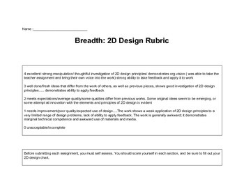 AP 2D Design Breadth Rubric and tracking chart