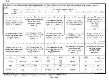AP AB Calculus,No Calculator,finding slopes,equations, tangent,normal, Puzzle 10