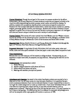 AP ART HISTORY SYLLABUS for Gardner's 12th Edition