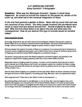 american history final exam teaching resources teachers pay  ap american history watergate essay prompt ap american history watergate essay prompt