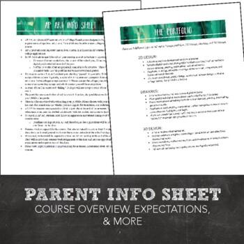 AP Art Application, Parent & Student Info Sheet, Summer Assignments, and More