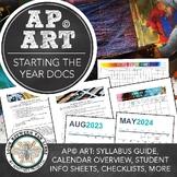 AP Art First Day of School: 2D Design, Drawing Syllabus, Calendar, & Checklist