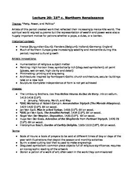 AP Art History Unit 20 (15th c. Northern Renaissance) Study Guide