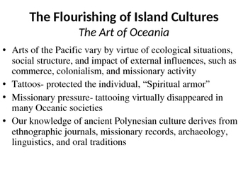 AP Art History Content 9- Art of The Pacific 700-1980 C.E.