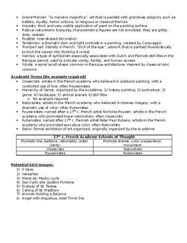 AP Art History Unit 23 + 24 (17th century) Study Guide