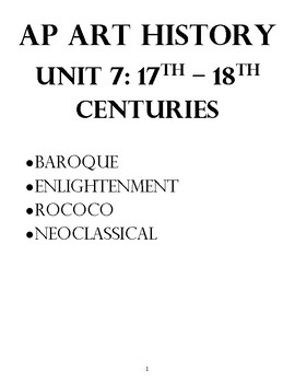 AP Art History Unit 7 Workbook for Baroque-Neoclassical
