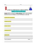 AP BIOLOGY TEST PREP: SCIENCE WRITING: REACTIONS