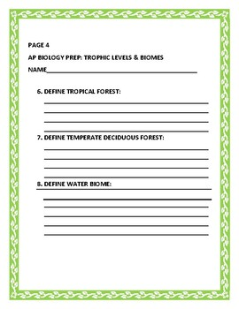 AP BIOLOGY TEST PREP: TROPHIC LEVELS & BIOMES: A  KNOWLEDGE RESEARCH ASSIGNMENT
