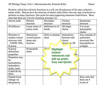 AP Biology 20 Minute Essays, Macromolecules