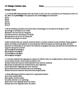 AP Biology Evolution Quiz v1