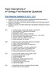 *FREE* AP Biology Free Response List - Questions by Topic