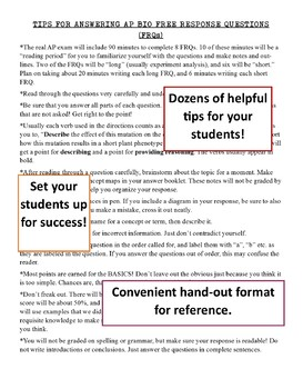 AP Biology Free Response Question (FRQ) Tips & Teacher Planning Guide