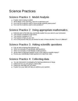 AP Biology - Group Inquiry - Science Practices 1-4