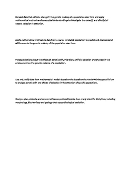 AP Biology Learning Targets & Success Criteria