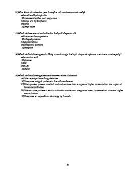 AP Biology Practice Question Set Cell Ogranelles, Membranes & Transport,
