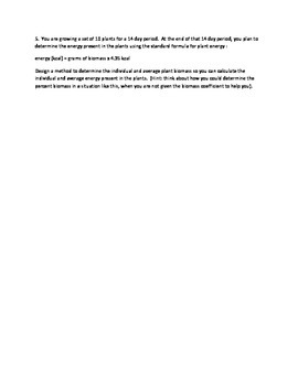 AP Biology Revised Curriculum Estimating Energy Flow Sample Data & Problems