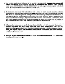 AP Biology SUMMER WORK - Assignments for Biochem Unit