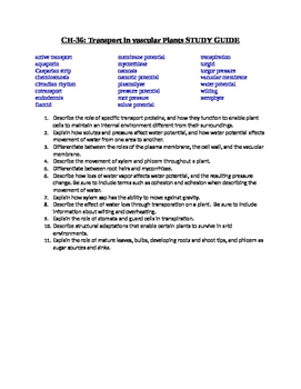 AP Biology Study Guides for BOTANY CH's 29, 30, 35, 36, 37, 38, and 39