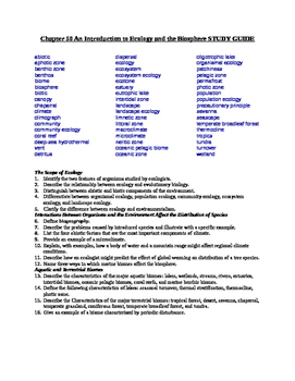 AP Biology Study Guides for ECOLOGY CH's 50-55