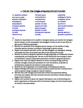 AP Biology Study Guides for EVOLUTION CH's 22-26