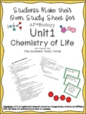 AP Biology Unit 1 Chemistry of Life Study Sheet and Study Cards