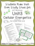 AP Biology Unit 3 Cellular Energetics Study Sheet and Study Cards